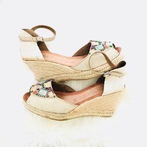 Apepazza Wedge Sandals stones & beads Boho Style